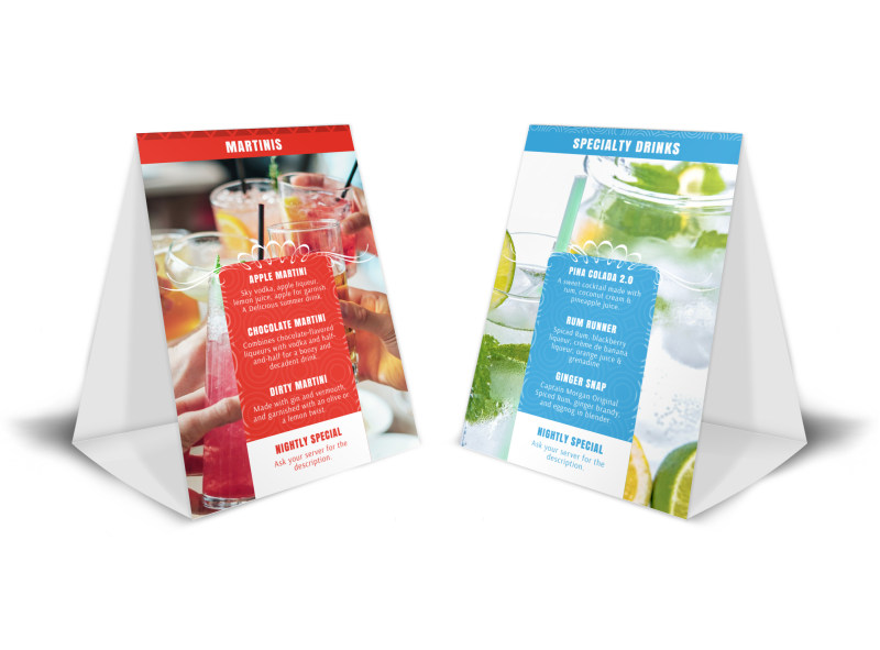 Drink Menu Table Tent Template