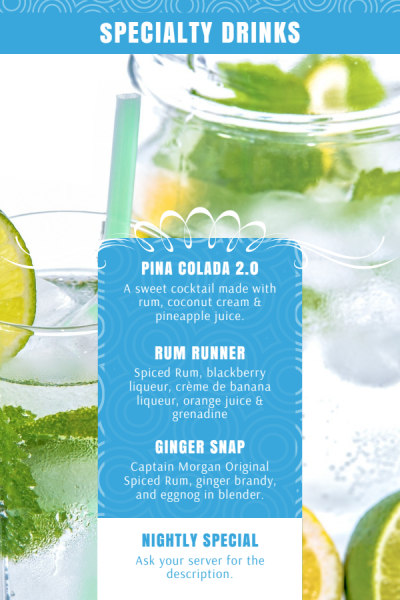 Drink Menu Table Tent Template Preview 2