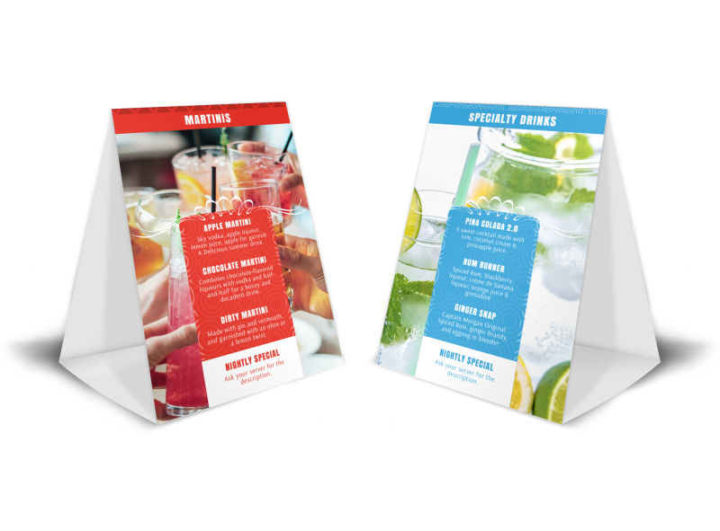 Drink Menu Table Tent Template Preview 1
