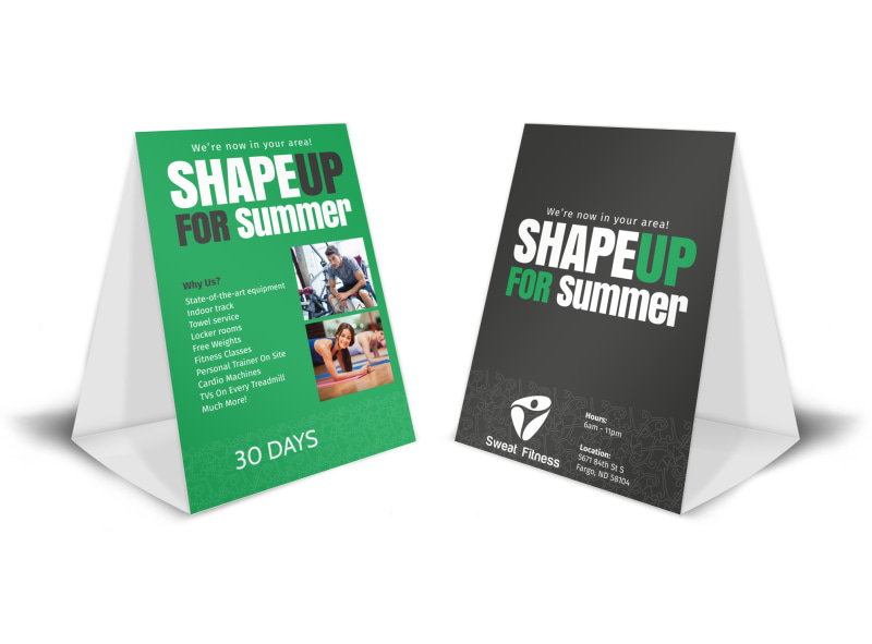 Sweat Fitness Summer Gym Table Tent Template