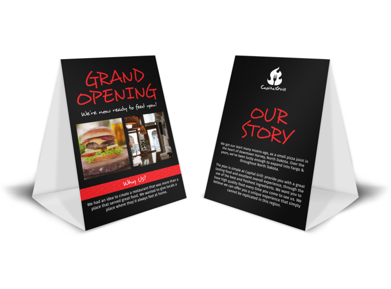 Capital Grill Grand Opening Table Tent Template MyCreativeShop - Restaurant table tent template