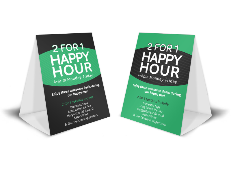 2 For 1 Happy Hour Table Tent Template | Mycreativeshop