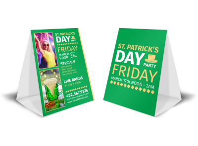 St Patrick's Day Party Table Tent Template preview