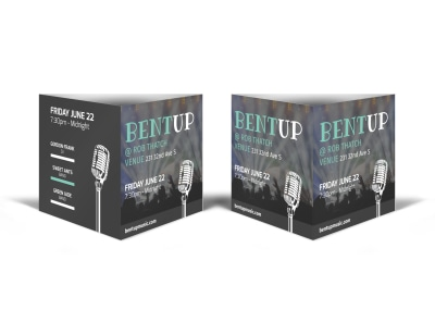Bent Up Music Concert Table Talker Template preview