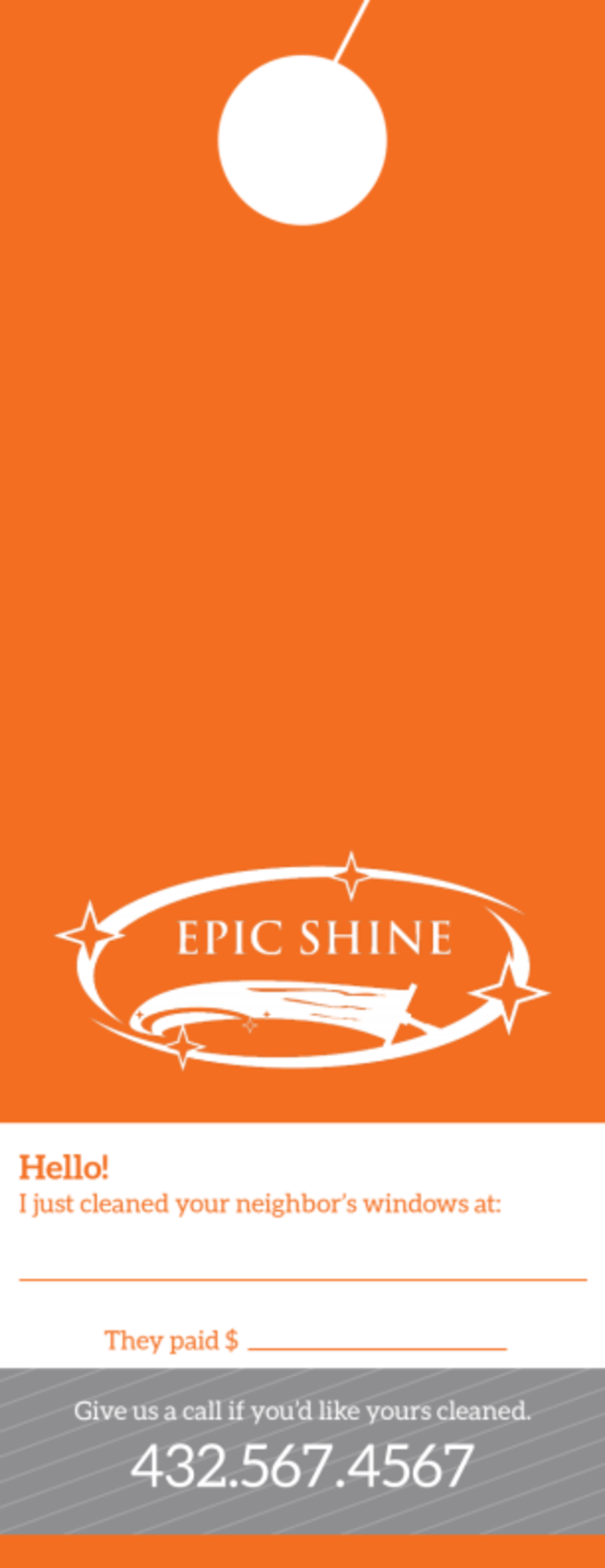 Epic Shine Window Cleaning Door Hanger Template Preview 3