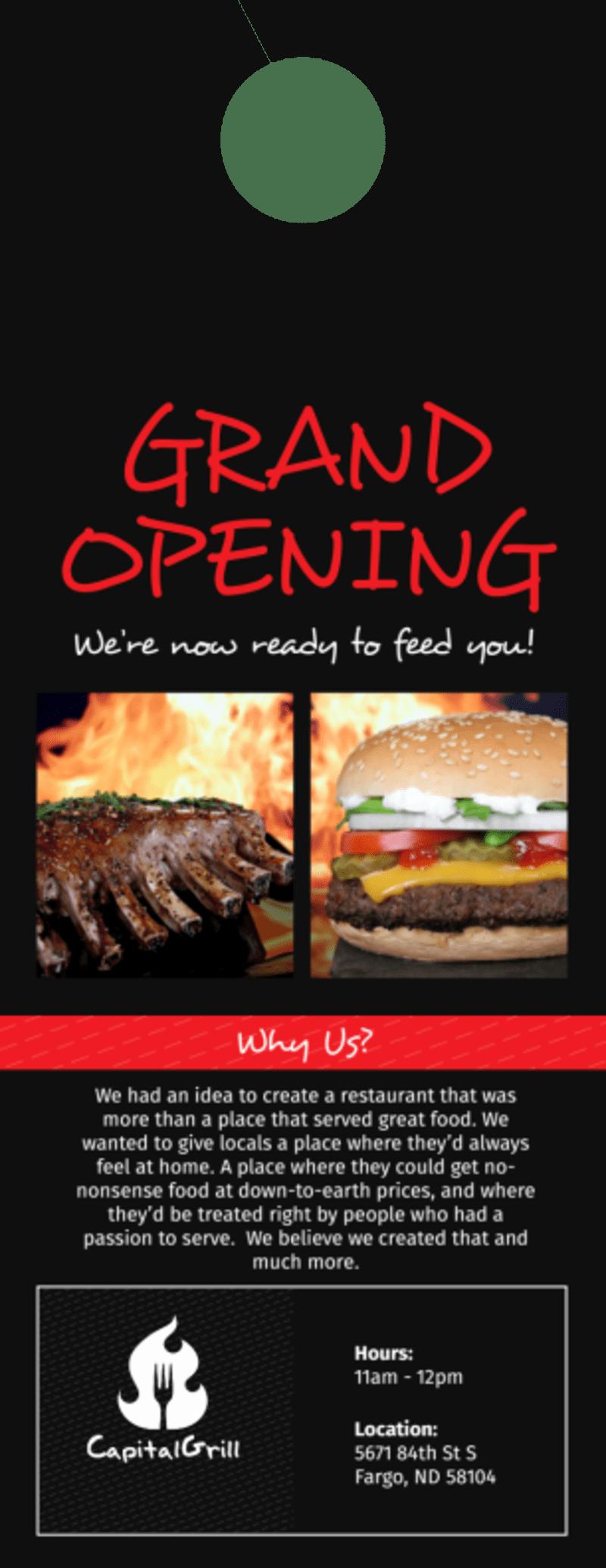 Capital Grill Grand Opening Door Hanger Template Preview 2