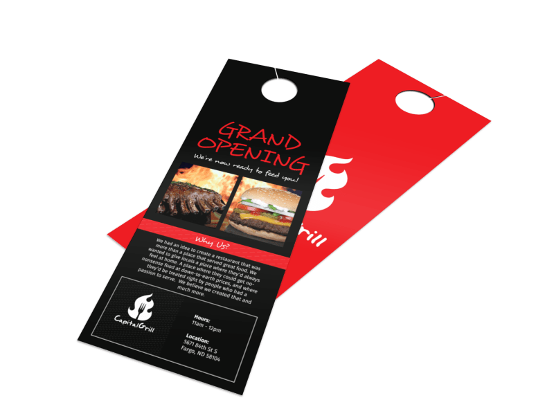 Capital Grill Grand Opening Door Hanger Template Preview 1