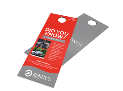 Kenny's Auto Body Door Hanger Template
