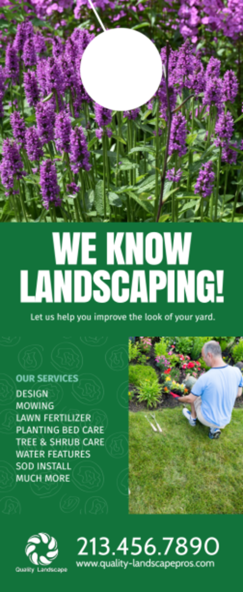 Quality Landscaping Service Door Hanger Template Preview 2
