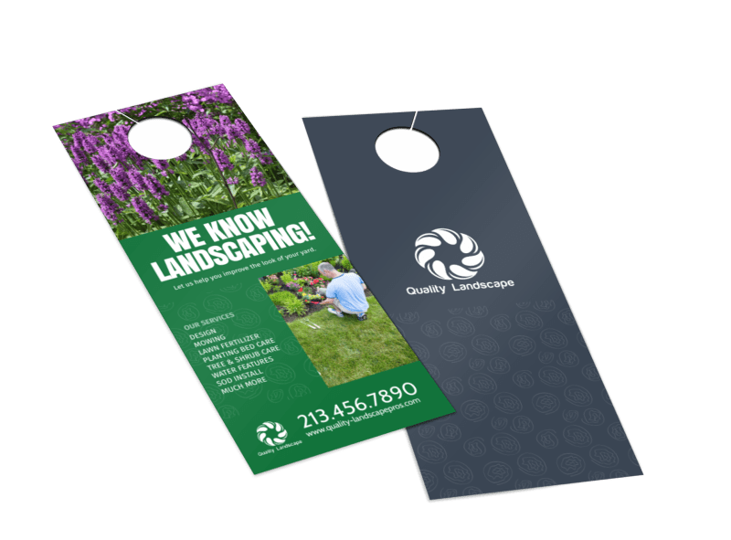 Quality Landscaping Service Door Hanger Template Preview 1