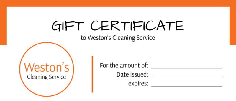 weston u0026 39 s cleaning service gift certificate template