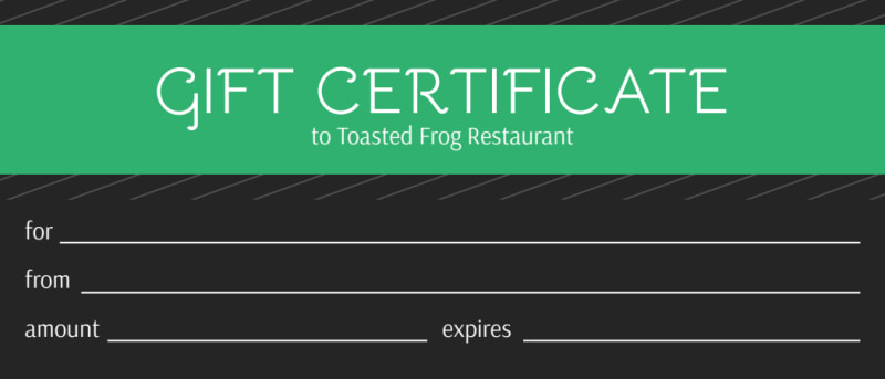 Toasted Frog Restaurant Gift Certificate Template Preview 2