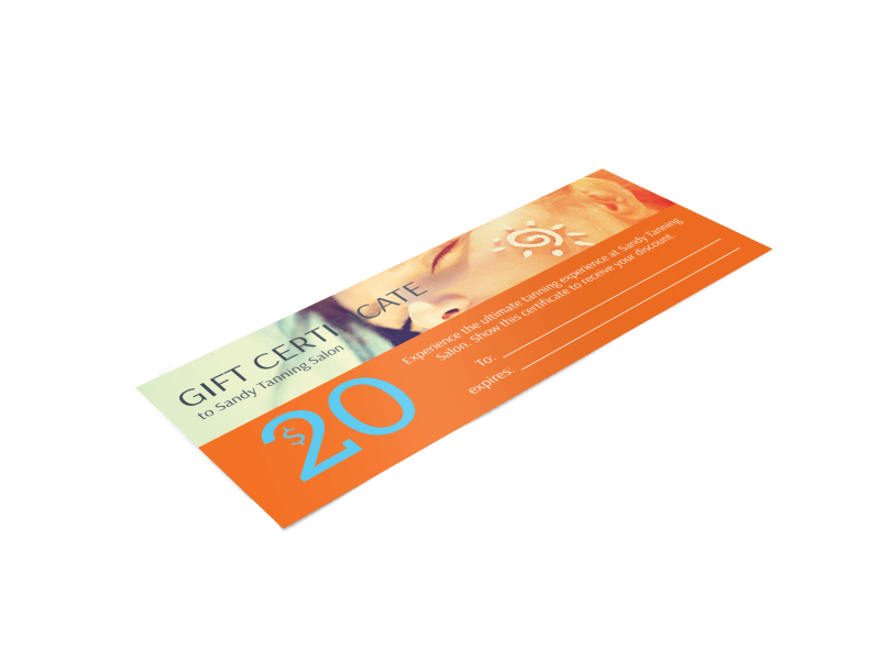 Sandy Tanning Salon Gift Certificate Template Preview 1