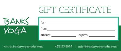 Banks Yoga Gift Certificate Template Preview 1
