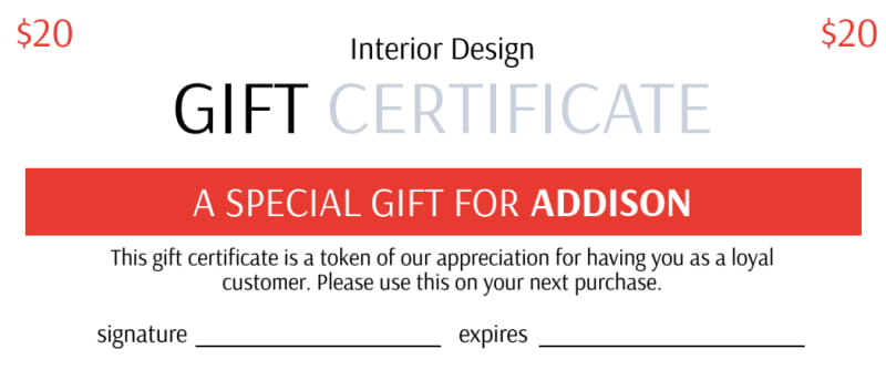 Interior Design Gift Certificate Template Preview 2