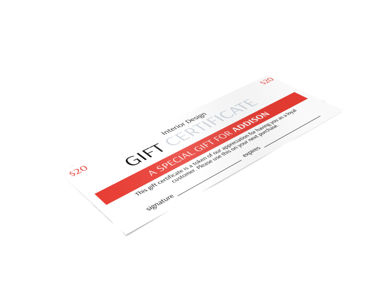 Interior Design Gift Certificate Template Preview 1