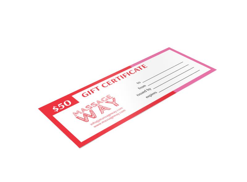 Massage Way Gift Certificate Template Mycreativeshop