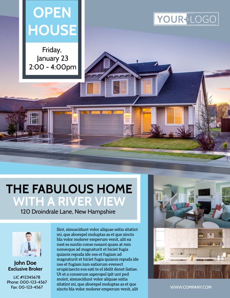 River View Real Estate Open House Flyer Template Preview 2