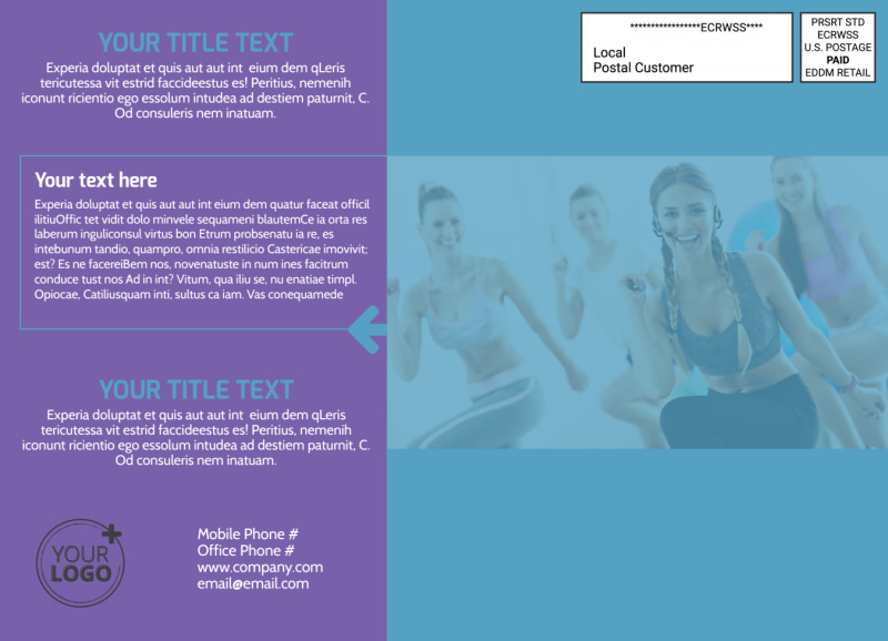 Aerobics Class EDDM Postcard Template Preview 3