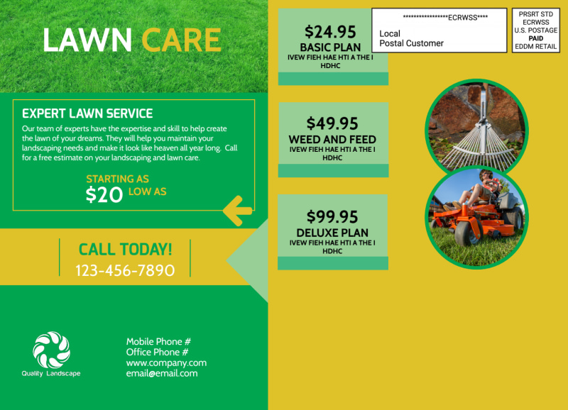 Lawn Care EDDM Postcard Template Preview 3