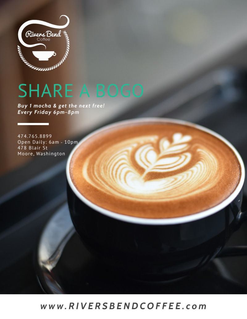 Share A BOGO Coffee Shop Marketing Flyer Template Preview 2