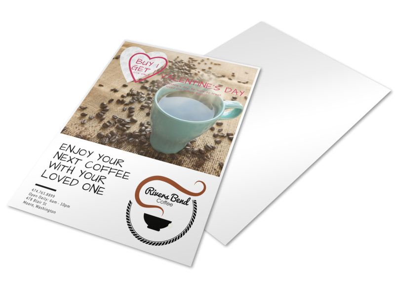 Valentine's BOGO Coffee Shop Marketing Flyer Template