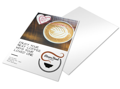 Valentine's BOGO Coffee Shop Marketing Flyer Template preview