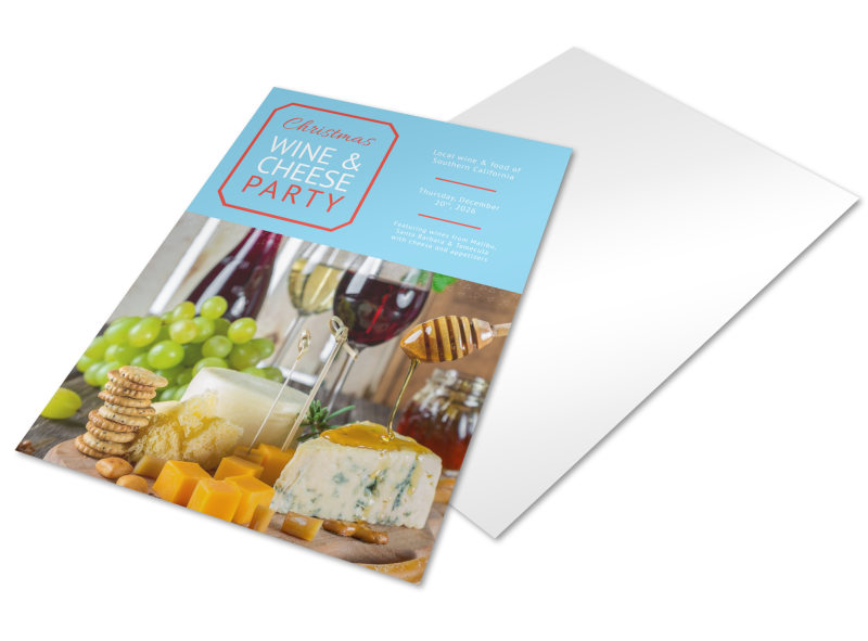 Christmas Wine & Cheese Holiday Marketing Flyer Template Preview 4
