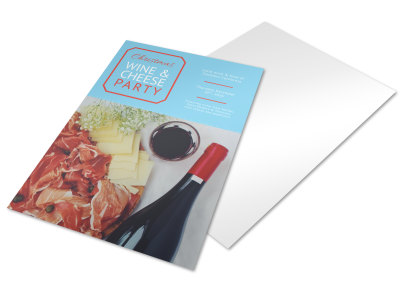 Christmas Wine & Cheese Holiday Marketing Flyer Template preview