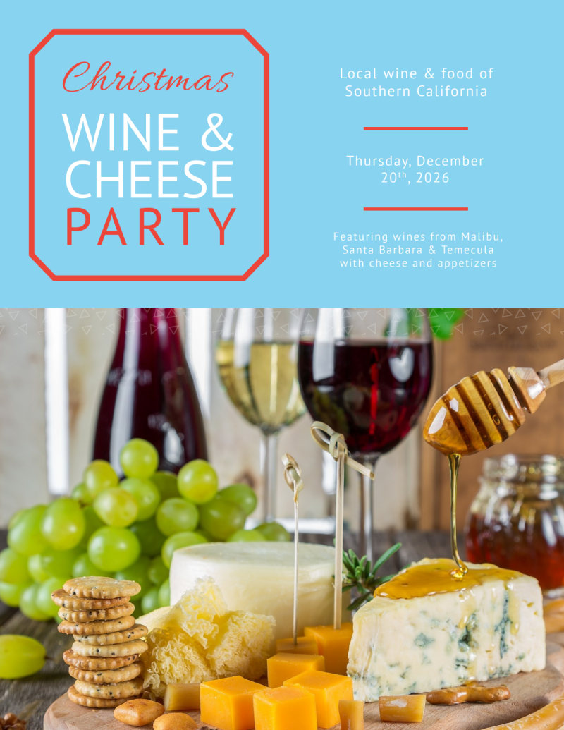 Christmas Wine & Cheese Holiday Marketing Flyer Template Preview 2