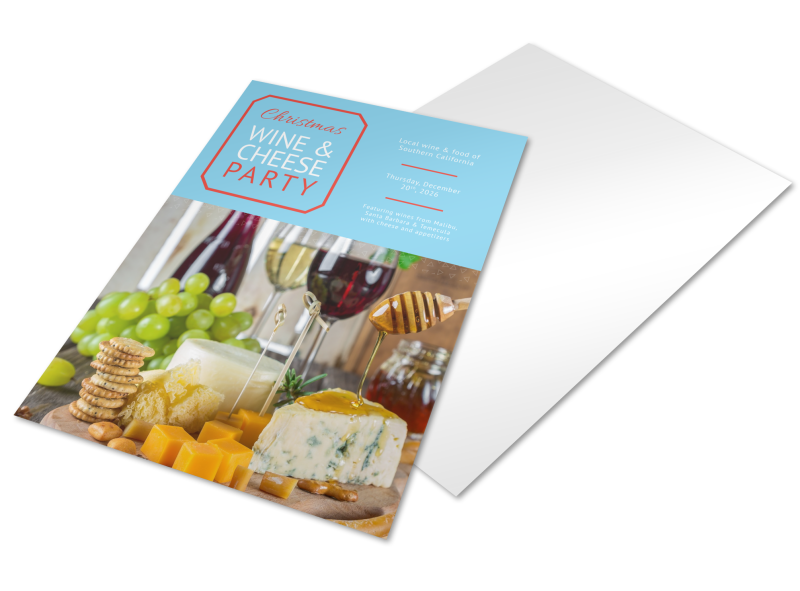 Christmas Wine & Cheese Holiday Marketing Flyer Template Preview 1