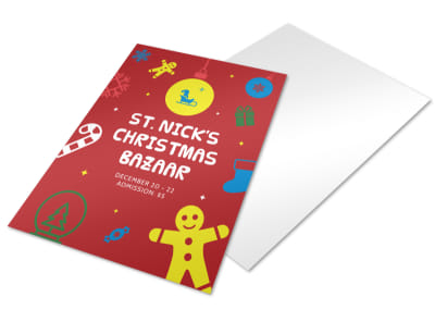 St. Nick's Christmas Bazaar Holiday Flyer Template preview