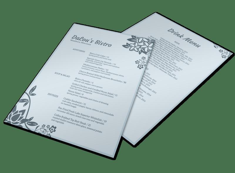 DaLou's Bistro Menu Flyer Template Preview 1