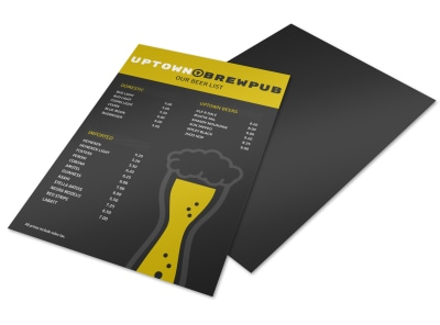 Uptown Brewpub Beer Menu Flyer Template preview