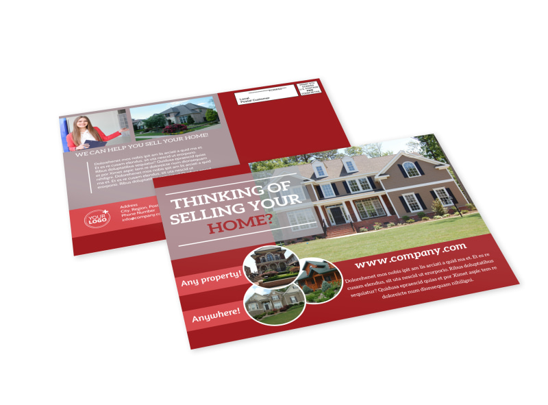 Real Estate Thinking Of Selling EDDM Postcard Template MyCreativeShop - Template for selling a house