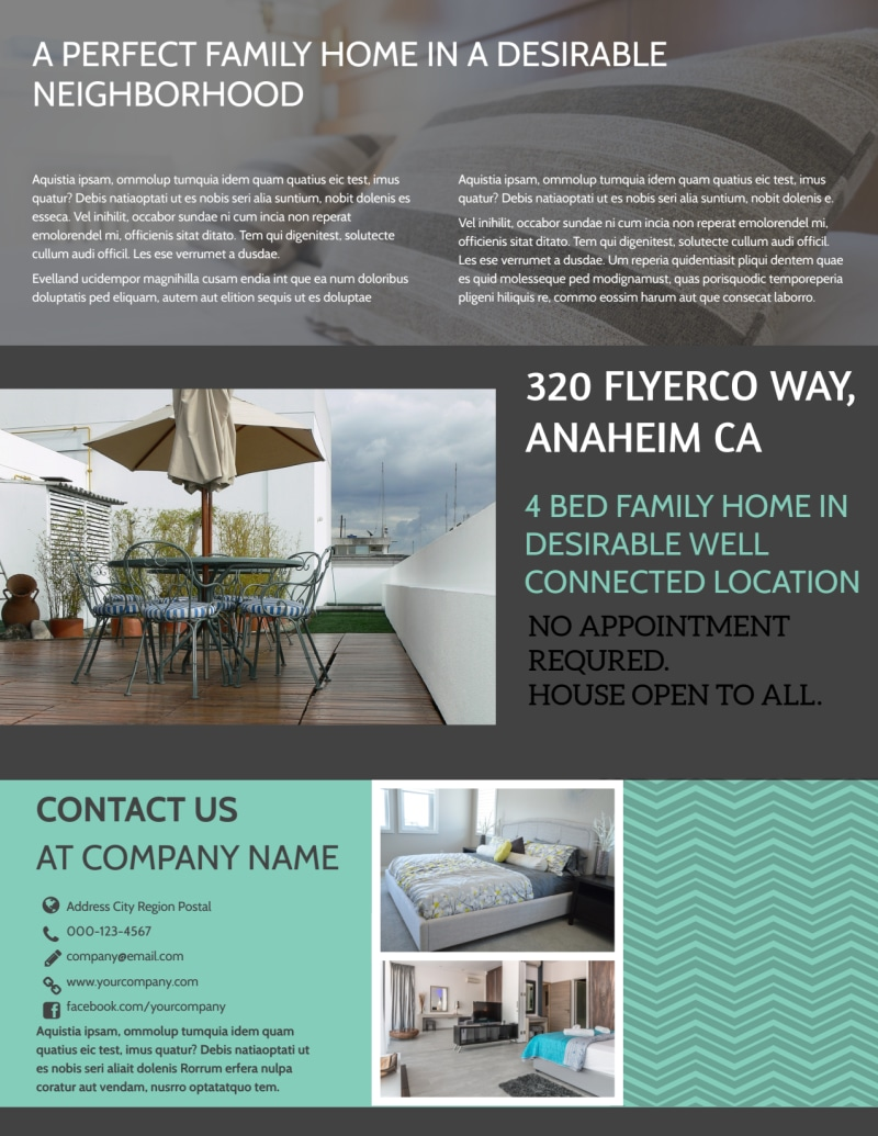 Anaheim Real Estate Open House Flyer Template Preview 3