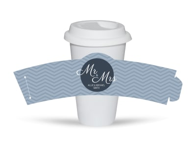 Mr. & Mrs. Wedding Cup Sleeve Template