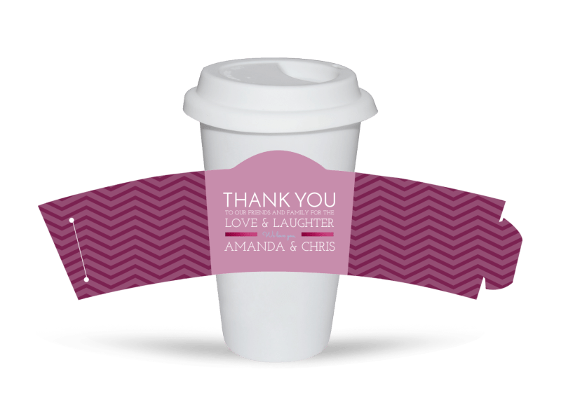 Wedding Thank You Cup Sleeve Template Preview 1