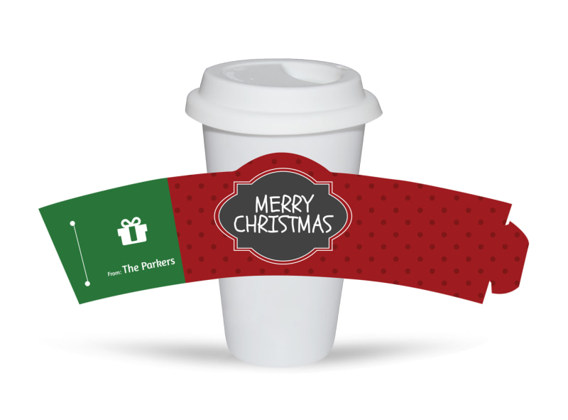 Merry Christmas Cup Sleeve Template