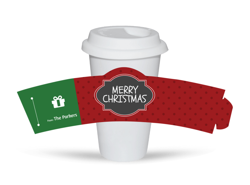 Merry Christmas Cup Sleeve Template Preview 1