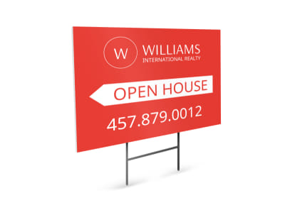 Williams Realty Open House Yard Sign Template  House For Sale Sign Template