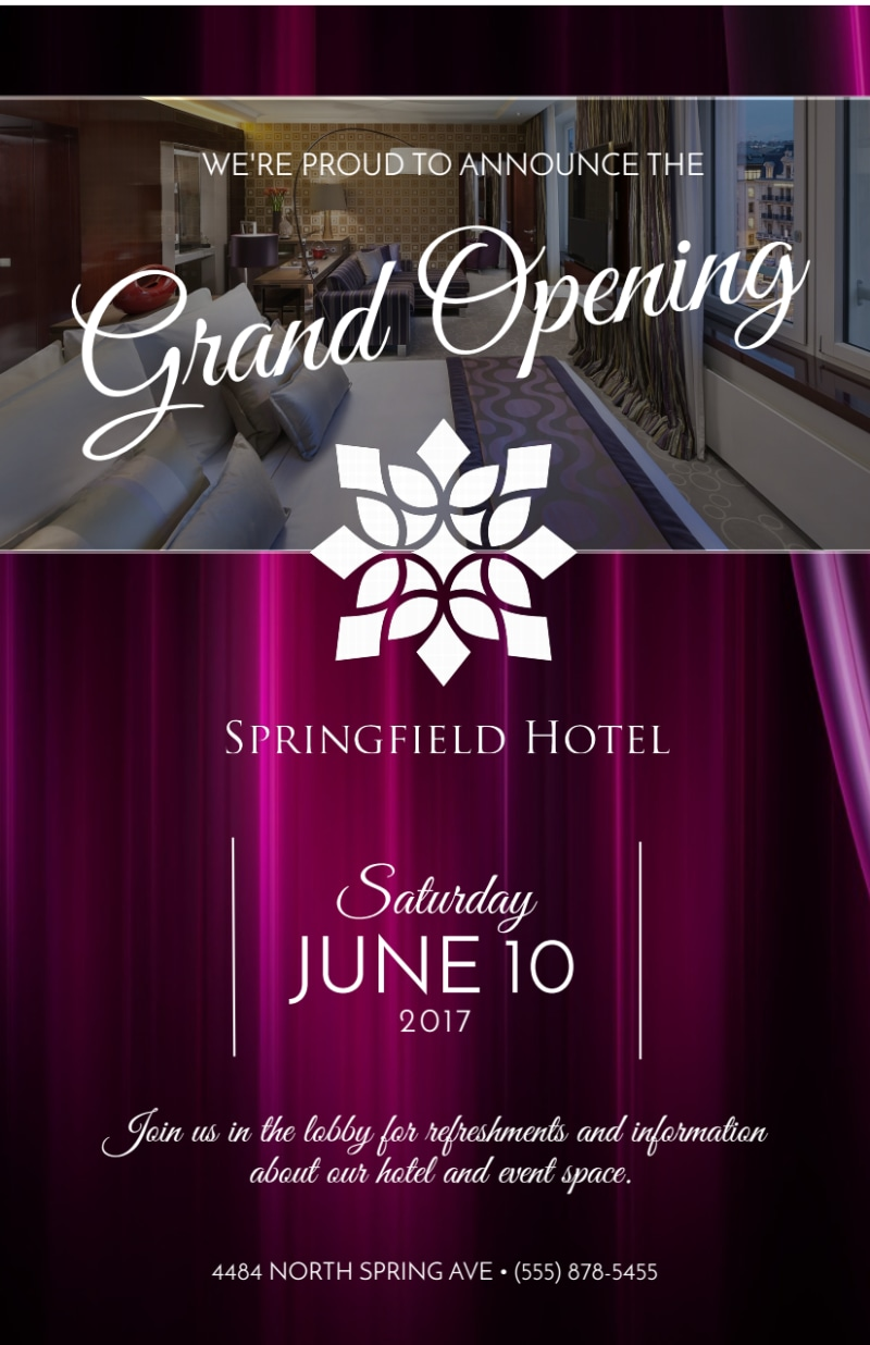 Springfield Hotel Grand Opening Flyer Template Preview 2