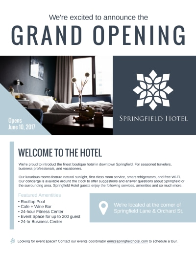 Downtown Hotel Grand Opening Flyer Template Preview 1