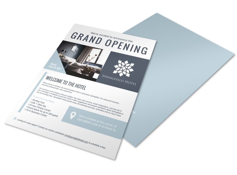 Design Custom Hotel Flyers Online  Mycreativeshop