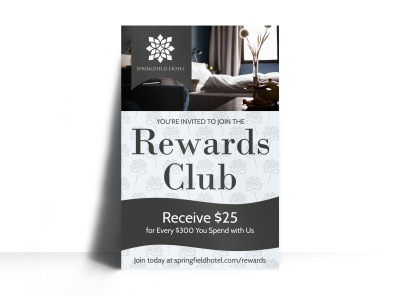 Hotel Rewards Club Poster Template preview