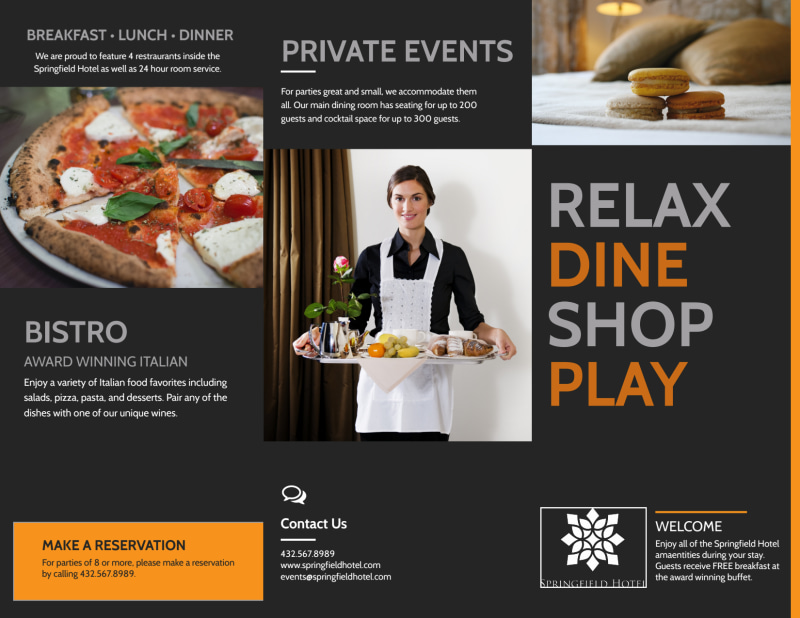 Hotel Showcasing Amenities Tri-Fold Brochure Template Preview 2