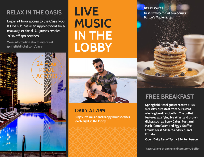Hotel Showcasing Amenities Tri-Fold Brochure Template Preview 3