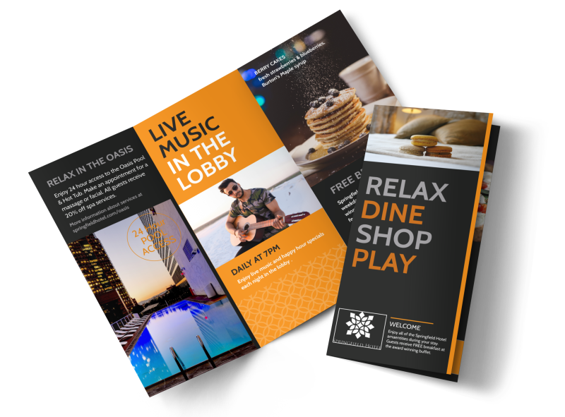 Hotel Showcasing Amenities Tri-Fold Brochure Template Preview 1