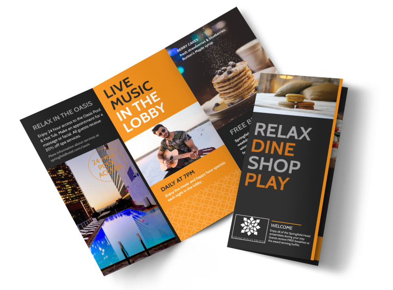 Hotel Showcasing Amenities Tri-Fold Brochure Template Preview 4