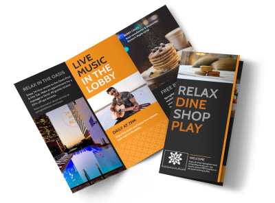 Hotel Showcasing Amenities Tri-Fold Brochure Template preview
